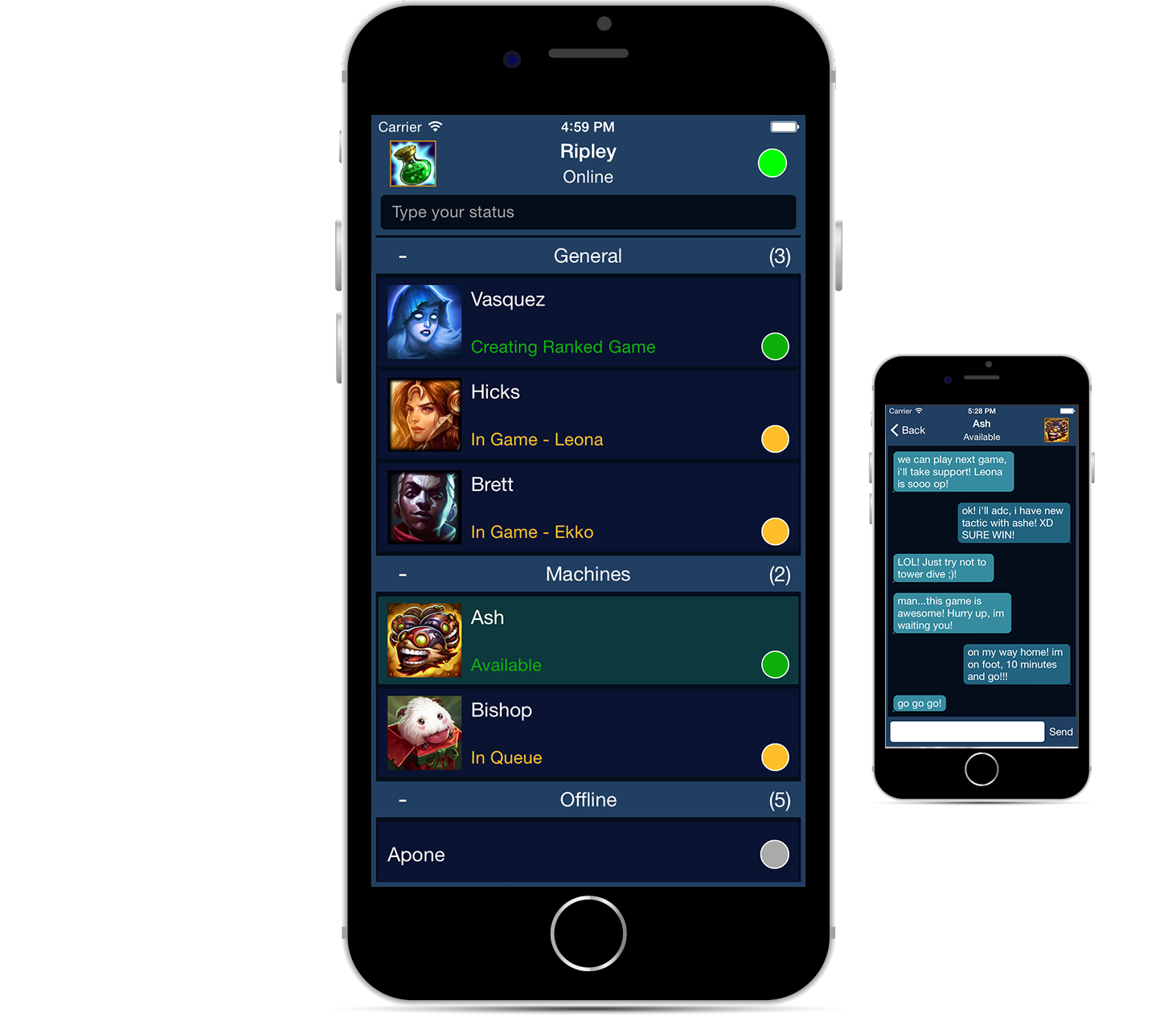 App chat del League Of Legends en tu iPhone